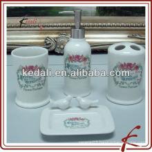 new design ceramic bathroom set with rose garden decal