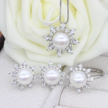 Freshwater Pearl Jewelry Sets With Necklace Earring Ring
