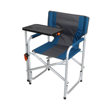 Blue Aluminum Directors Chair with Swivel Desk