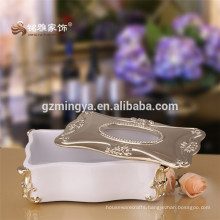Quality Resin Relief Fashion Rose Tissue Box Luxury Vintage Home Decoration Table Napkin Box