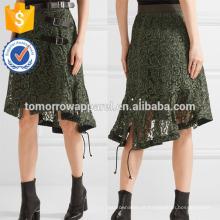 Nova Moda Sarja E Couro Guarnição Guipure Rendas Saia Diária DEM / DOM Fabricação Atacado Moda Feminina Vestuário (TA5131S)