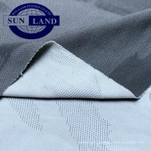 Moda camisa de esportes tecido especial design bio cor intertravado jacquard tecido de confecção de malhas