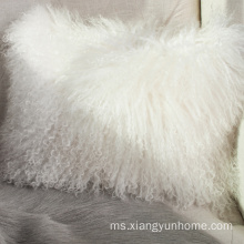 Snow White Lamb Fur Bantal Double Fur Belah