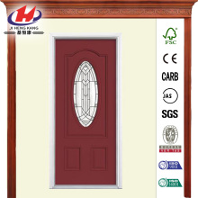 Oval Lite Painted Steel Prehung Front Door