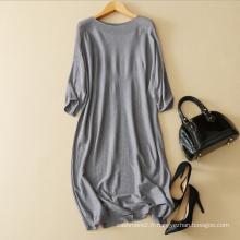 Robes de chandail mélangés pour dames nouvelle conception robe de tricot bateau manches demi-manches