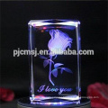 2017 new 3D Laser Crystal Glass Cube with Engraved Rose For Wedding Gifts