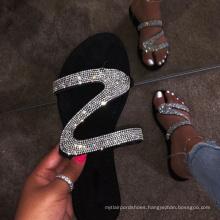 women big size slippers diamond women slippers flat slippers for  womens rhinestone sandals