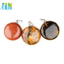 21mm perles d'agate pierre semi-précieuse ronde pendentif pour la vente en gros