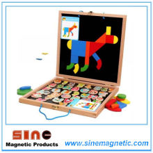Log Magntic Puzzle Double Drawing Board Woodern Spielzeug