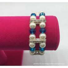 Pulsera de diamantes con cuentas de perlas de doble fila (XBL13555)
