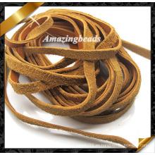 Joyería cuero cordón con color marrón 4 mm de ancho, pulsera de cuero cuerdas joyas de moda (RF052)