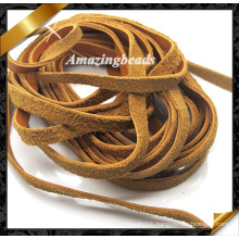 Jewelry Leather Cord with Brown Color 4mm Width, Bracelet Leather Strings Fashion Jewelry (RF052)
