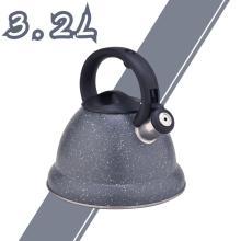 Серый прочный цветной чайник со свистком из нержавеющей стали