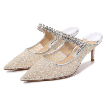 Ladies Sandals Thin Heel Shallow Mouth One Foot Pedal Women High Heels