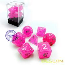 Bescon Intensive Glitter Dice 7pcs Set PINK PRINCESS, Novelty RPG Dice Set d4 d6 d8 d10 d12 d20 d%, Brick Box Packaging