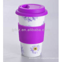 porcelain coffee mug with silicon lid