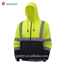 Wholesale ANSI Class 3 High Quality Two Tone Black Bottom Safety Jacket Yellow High Visibility Sweatshirts Hoodies