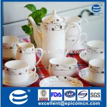 Nuevas ollas y tazas de cerámica de té de hueso, conjunto de té de cerámica al por mayor
