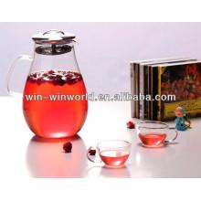 Teakettle en verre borosilicaté fait main avec crépine en acier inoxydable