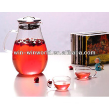 Handmade Borosilicate Glass Teakettle With Stainless Steel Strainer