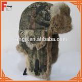 winter fur hat with fur pompoms