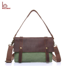 Vintage leather canvas messenger bag customized mens messenger bag