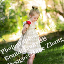 girls check flower embroidered dress