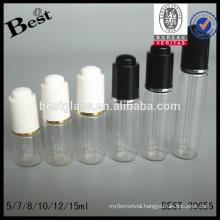 hot sale mini small glass dropper bottle 2ml 3ml 5ml 10ml 15ml cosmetics essential beard serum oil bottle with dropper