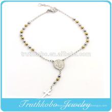 TKB-B0085 Projeto Do Cliente de Aço Inoxidável Prata Amarelo Ouro Dois Tons Contas Religiosas Cruz Rosário Virgem Maria Charm Bracelet