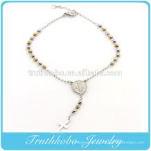 ТКБ-B0085 клиента дизайн из нержавеющей стали серебра желтое золото два тона бусины религиозные крест Розария Девы Марии браслет