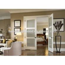 Moderna de cor branca, porta de vidro decorativo, baixo preço duplo portas francesas