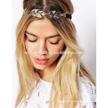 european decorative leaves boho girl wire elastic headband
