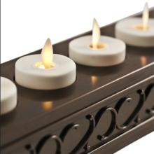 Luminara Set de 6 velas votivas recargable con Base decorativa
