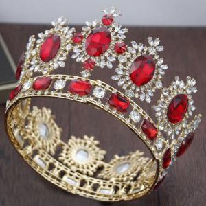 Venta al por mayor Crystal Gold Queen Crowns With Red Diamonds
