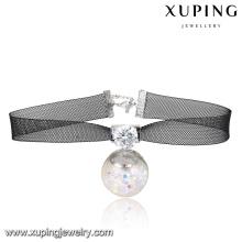 00132-simples accessoires de bijoux fantaisie pour femmes, colliers ras de cou en dentelle