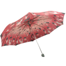 Best gift beatiful flower design polyester fabric 3folding outdoor umbrellas for ladies