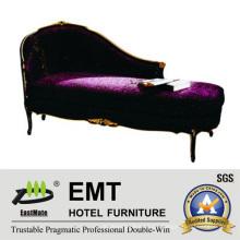 Sofá de sala de estar com sofá-cama de madeira sólida (EMT-LC17)