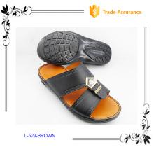 Black PU Upper Arab Slippers