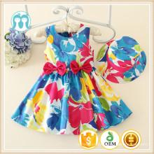 Wholesale en stock de haute qualité enfants filles sans manches en coton occasionnels Polyestre robe avec des arcs à la taille