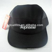 Personalizado 100% algodón Moda Negro Applique 5 sombrero panel