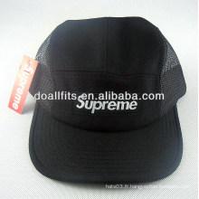 Custom 100% coton Fashion Black Applique 5 panneau chapeau