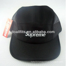 Custom 100% Cotton Fashion Black Applique 5 panel hat