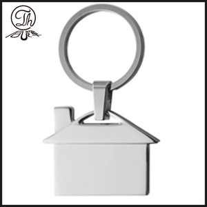 House shape blank metal key chain rings