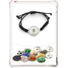 Neueste Promotion Customized Snap Button Wachs Seil gewebte Armbänder