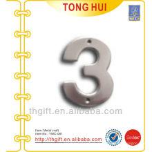 Silver Letter 3 ornamento de metal / logotipo decorativo