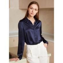 Blusa de camisa de seda con tapeta oculta básica para mujer 100% seda pura manga larga Tops suaves y frescos