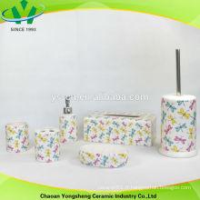 Ensemble d'accessoires de salle de bains en céramique colorée de libellule 2014