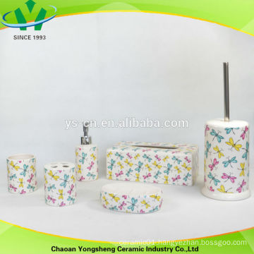 2014 dragonfly colorful ceramic bathroom accessories sets