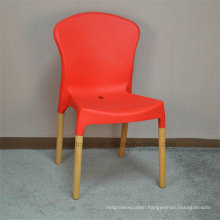 Economical Durable Commercial Plastic Chair with Wooden Legs (sp-uc477)