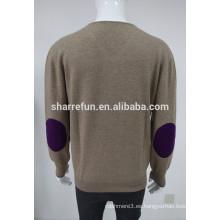 cuello clásico al por mayor v codo-parches hombres jersey de suéter de cachemira